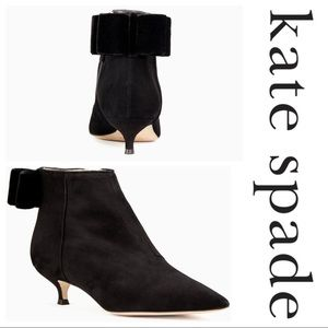 Kate Spade Donella Suede Leather Ankle Bow Boots